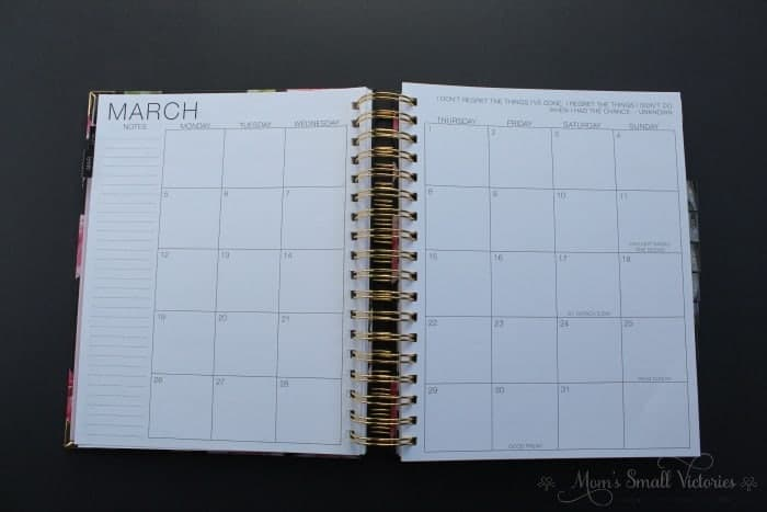 The Purposeful Planner Review: Monthly calendar in Monday start of the week format with space for notes.