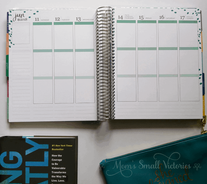 Inside the Erin Condren January to December 2018 Vertical Weekly Planner, accessories and Daring Not Greatly by Brene Brown is one of the prizes in the Ultimate Planner Comparison + Giveaway. Get all the details on the 11 best life and goal planners on the market to find the best planner for you in your current season of life.