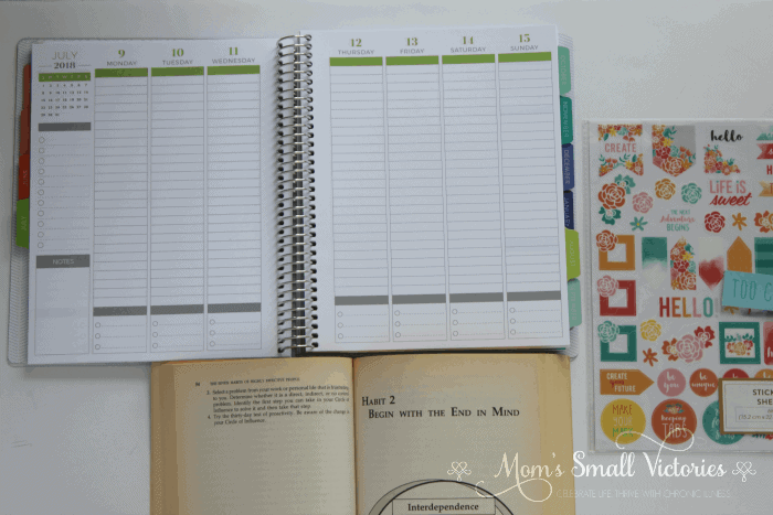 Inside The Plum Paper Planner April 2018 to March 2019 Vertical Weekly Planner and the 7 Habits of Highly Effective People by Stephen Covey is one of the prizes in the Ultimate Planner Comparison + Giveaway. Get all the details on the 11 best life and goal planners on the market to find the best planner for you in your current season of life.