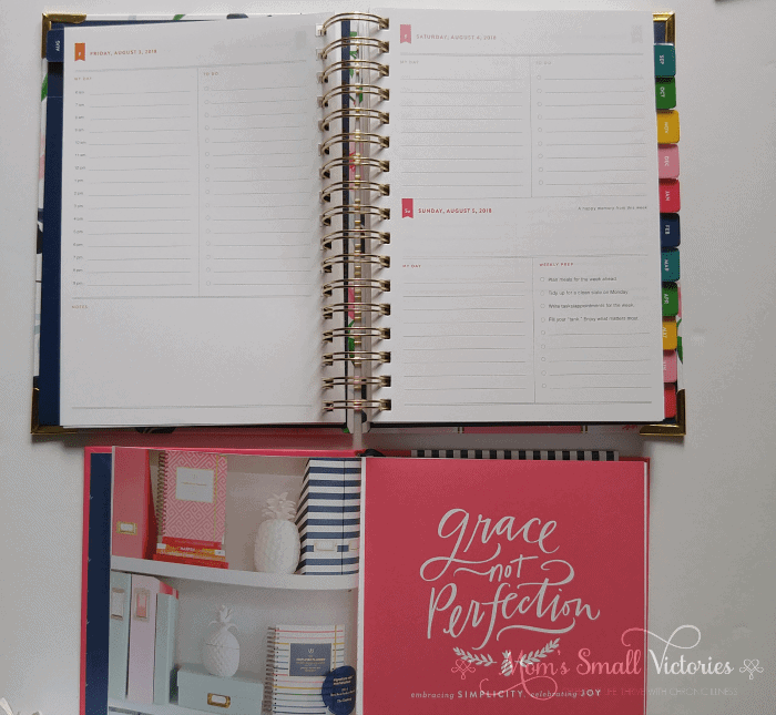 Inside look at the The Simplified Planner August 2018 to July 2019 Watercolor Floral and Grace Not Perfection by Emily Ley is one of the prizes in the Ultimate Planner Comparison + Giveaway. Get all the details on the 11 best life and goal planners on the market to find the best planner for you in your current season of life.
