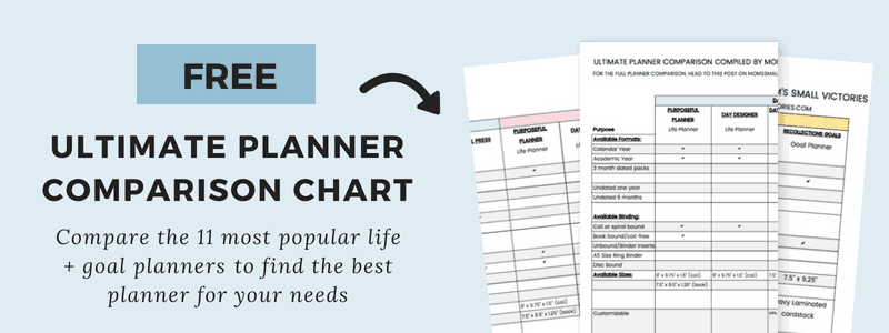 Subscribe to my Planning and Productivity Newsletter and get the FREE Ultimate Planner Comparison Chart so you can see a side-by-side comparison of 11 of the most popular life and goal planners to determine the best planner for your needs, lifestyle and planning type.
