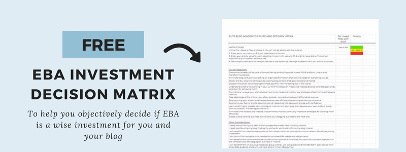Subscribe to my Blogging Newsletter and Get my FREE EBA Investment Decision Matrix to help you objectively decide if EBA is right for you.