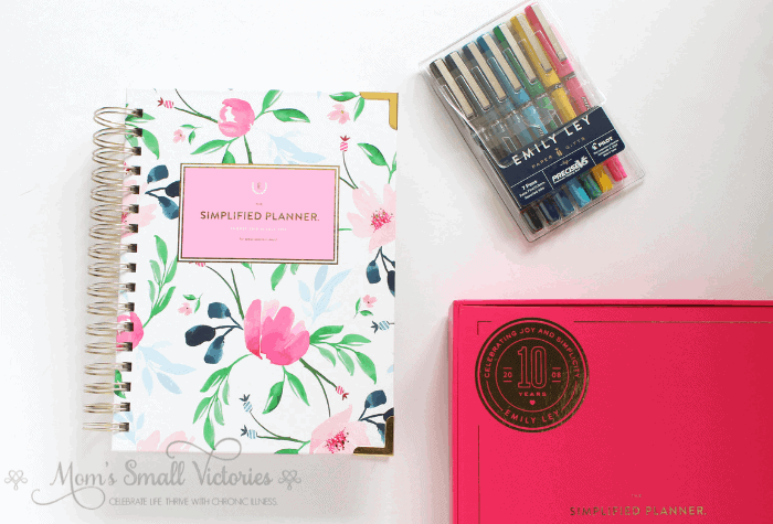 Simplified Planner Daily 2018-2019 iWatercolor Floral Cover with Fuschia Keepsake Box and Emily Ley Pilot Precise Pen set