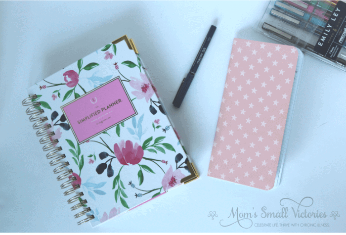 Simplified Planner Daily 2018-2019, Pink Star Webster's Pages graph paper notebook, and Emily Ley Pilot Precise Pen Set