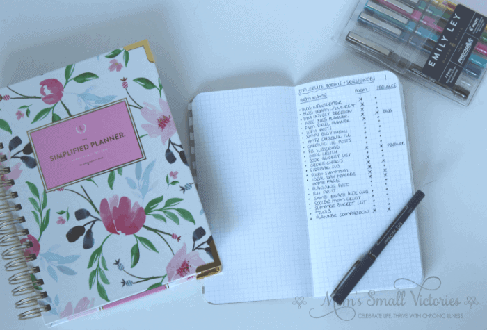 Simplified Planner Daily 2018-2019, Pink Star Webster's Pages graph paper notebook forms and sequences list page, and Emily Ley Pilot Precise Pen Set