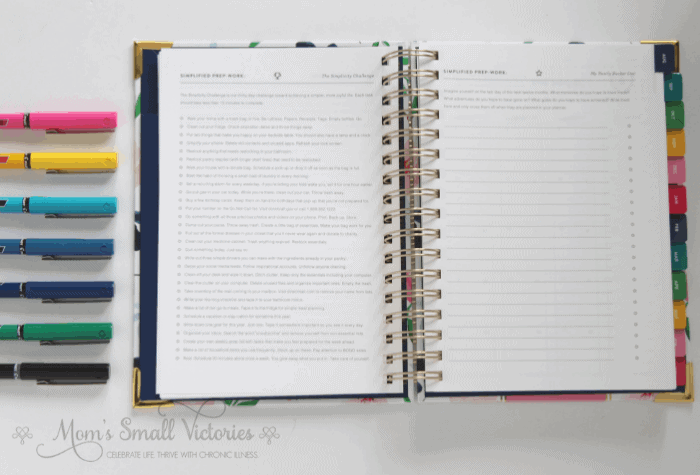 Simplified Planner Daily 2018-2019 Simplicity Challenge and Yearly Bucket List with Emily Ley Pilot Precise Pen Set
