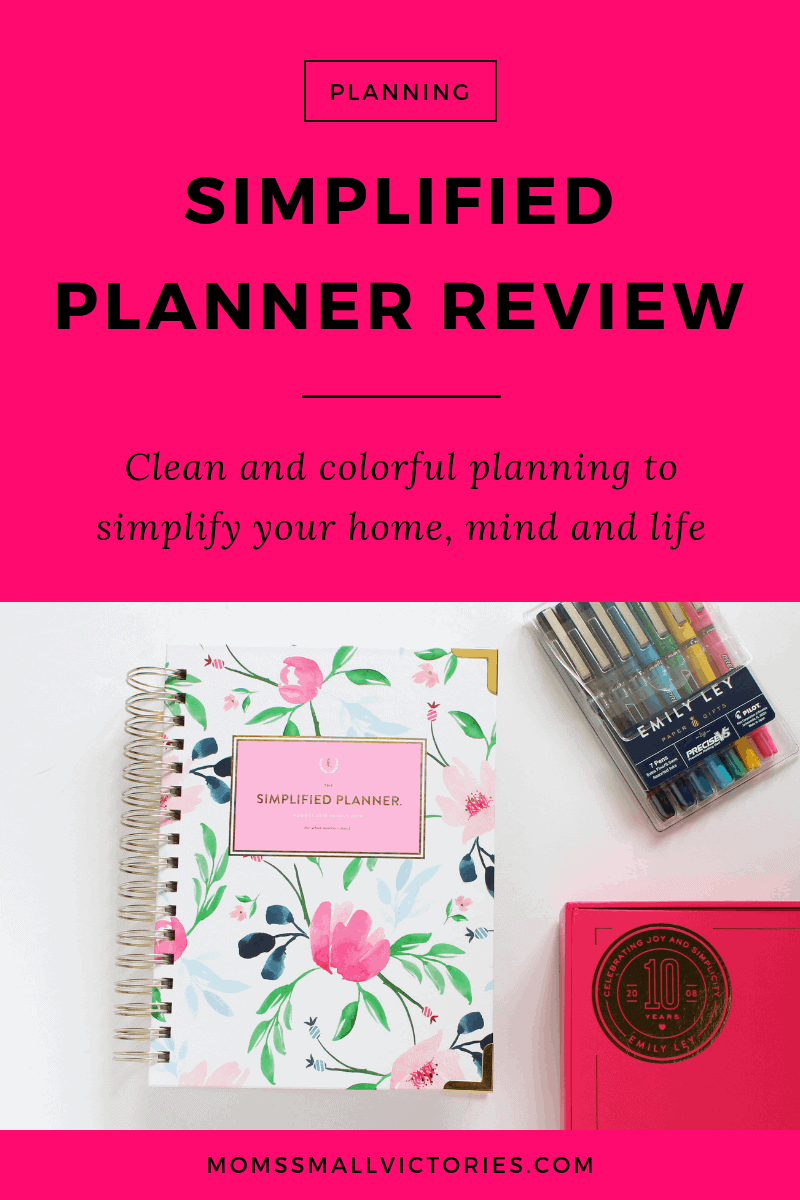 Review of The Daily Simplified Planner by Emily Ley. This clean and colorful planner is an effective time management solution to simplify your home, mind and life. Pictured here is the 2018-2019 Daily Simplified Planner with a Watercolor floral cover, Emily Ley pilot precise v5 pen set and pink signature box that planner is shipped in.