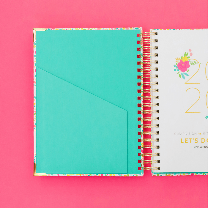 2020 Powersheets with Confetti Cover and teal inside pocket