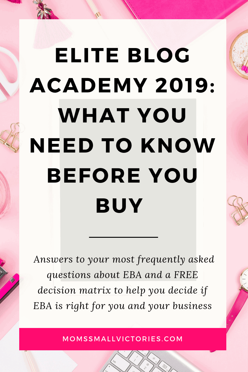 Elite Blog Academy 2019 is a comprehensive blogging course to take your blog from idea to business. Here's everything you need to know about Elite Blog Academy 2019 before you buy including my honest review with things other bloggers won't tell you, the true cost of Elite Blog Academy and answers to your EBA FAQs. Plus get a FREE EBA Investment decision matrix to help you decide if EBA is right for you and your business before you invest.
