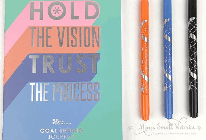 erin condren goal setting journal and orange black blue dual tip markers