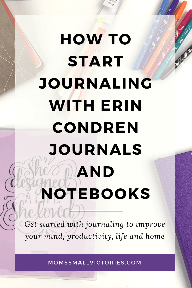 how to start journaling with erin condren journals and notebooks. Erin condren coiled notebook, softbound shimmer purple notebook, erin condren dual tip markers in classic colors and erin condren on the go folio with journals inside