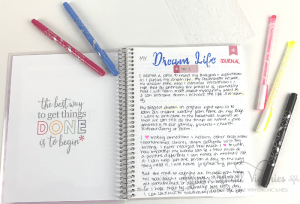 'm using the erin condren coiled notebook for my dream life journal. shown here are coiled notebook, inside page with my journal entry and erin condren dual tip markers