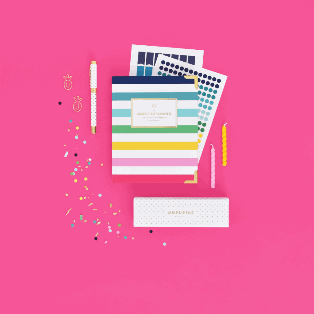 Simplified Planner 11th Birthday Sale image featuring the 2019-2020 Daily Happy Stripe Planner