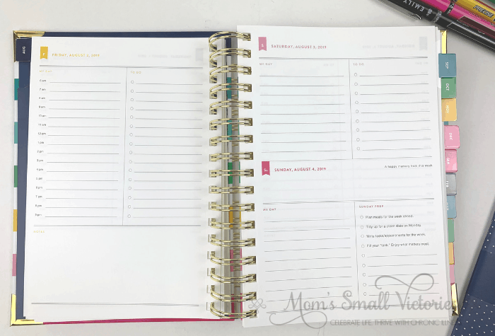 The Daily Simplified Planner Review. The 2019 2020 daily simplified planner pages has Saturday and Sunday sharing a page. Each day has a smaller section for what's happening in the day and to do's and Sunday includes 4 Weekly Prep items filled in that are Emily Ley' s recommendations for what to do to prep for the week ahead.