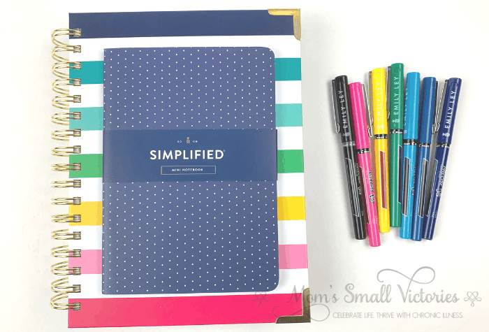 The Daily Simplified Planner Review. The 2020 Daily Simplified Planners have 4 lined notes pages in the planner. I will be using an extra mini notebook shown here in the navy dot cover to keep track of my weekly overview goals and next action lists and a brain dump of important ideas, tasks and projects I don't want to forget.