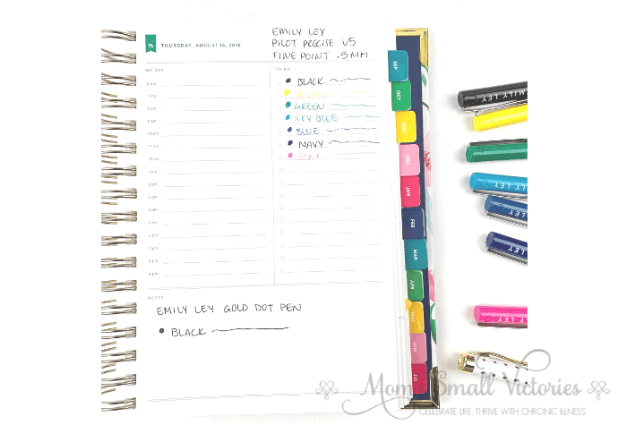 Colored pens are an easy way to make bullet journals pop when you're a beginner. These Pilot Precise v5 pens shown on the Simplified Planner are my favorite fine point pens.