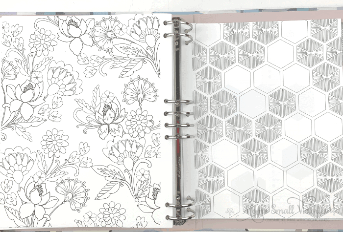 The coloring pages in the Erin Condren Life Planner Binder. a floral and a hexagon design, perfect for coloring, goal tracking or mood tracking.