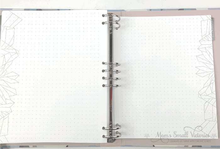 The dot grid journal pages in the Erin Condren Life Planner Binder