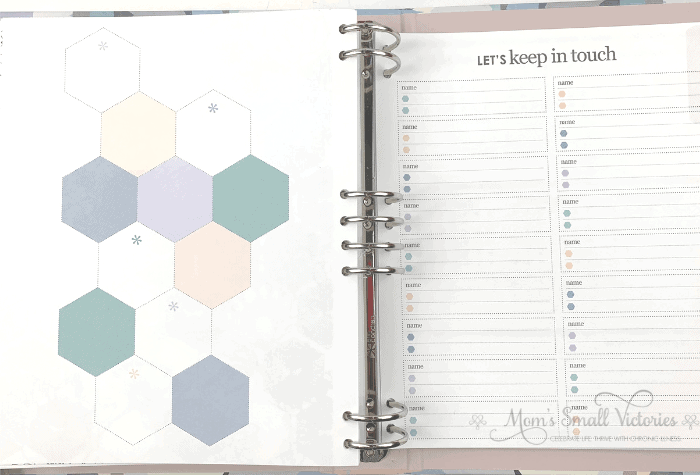 The hexagon and contacts pages in the Erin Condren Life Planner Binder in the neutral color scheme.