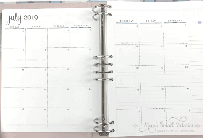 The monthly calendar layout in the Erin Condren Life Planner Binder has large enough spaces to track appointments, your bills, your memories a day and a lined space for other to dos.