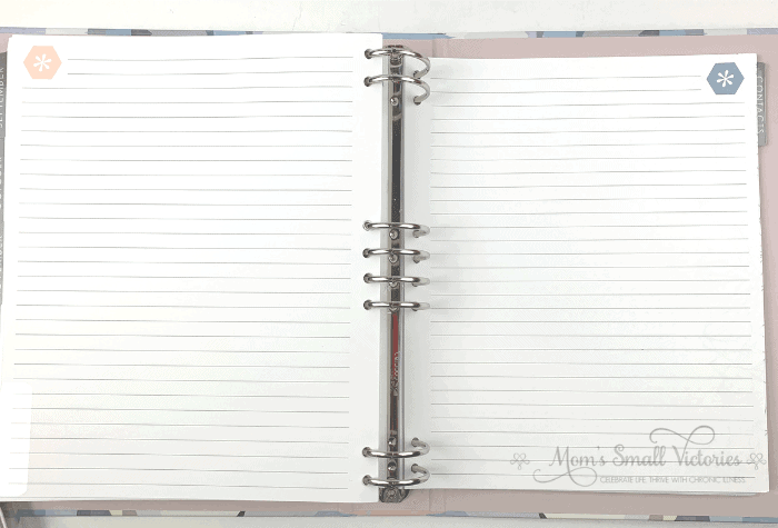 Two of the lined pages in the Erin Condren Life Planner binder in the neutral color scheme.