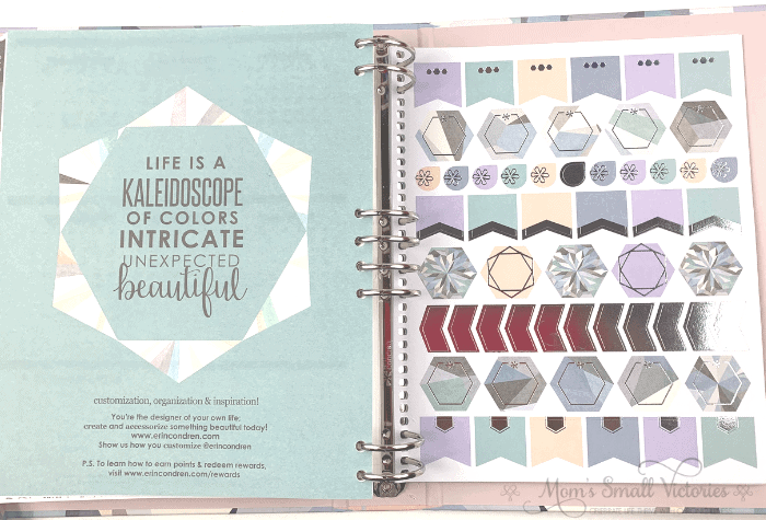 The hexagon sticker page is gorgeous in the Erin Condren Life Planner Binder in the neutral color scheme.
