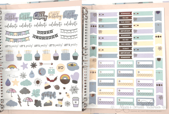 Two of the sticker pages in the Erin Condren Life Planner Binder neutral color scheme.
