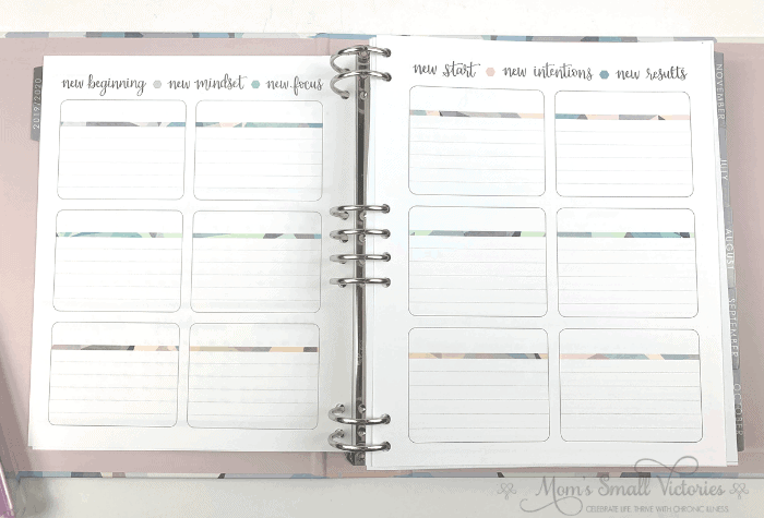You can use the New Beginning, New Mindset, New Focus pages in the Erin Condren Life Planner Binder can be used for goalsetting, holidays, accomplishments, the best of the year and whatever you want.