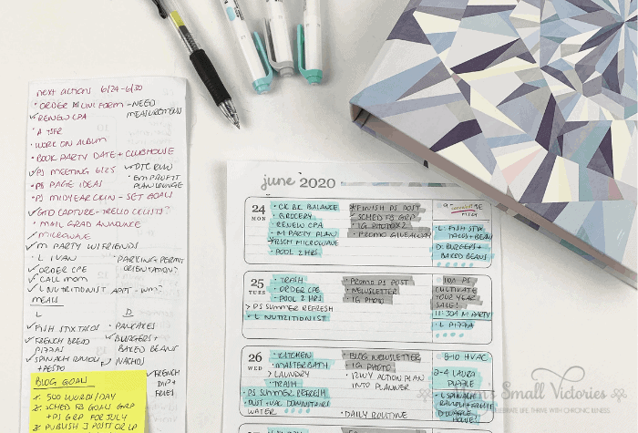I tested out the weekly page layout by making one column for home priorities, one column for blog/work priorities and used the small box for appointments and meals. I used a separate next actions list as the Getting Things Done system recommends to keep track of tasks I wanted to get done during the week.