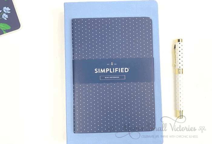 "The Dapperdesk Planner Review 2020. The sky blue dapperdesk planner is 6"" x 9"" with a 5"" x 7"" navy dot mini notebook on top."