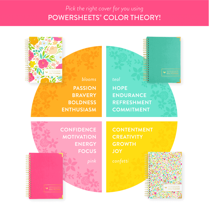 Powersheets 2020 covers. The Powersheets 2020 intentional goal planners come in 4 cover options: a lovely Blooms, a linen teal, a linen pink and a confetti theme. Use the color theory guide to help pick the perfect Powersheets cover to help you cultivate what you need in 2020