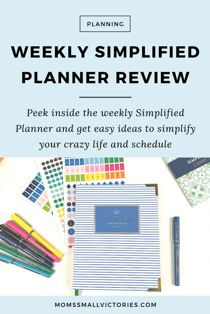 Detailed review of Emily Ley's Weekly Simplified Planner. Peek inside the weekly Simplified planner and get easy ideas to start simplifying your crazy life and schedule now so you can have your best year yet. #simplifiedplanner #emilyley #planners #gettingthingsdone