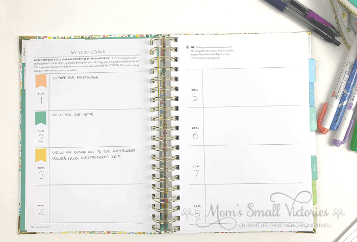 My Powersheets 2020 goal planner goals. Even though there is room for 8 goals, I'm trying to keep things simple and tackle these goals before moving on to the next. I'm looking forward to getting these done, they will help us lead the life we dream of!